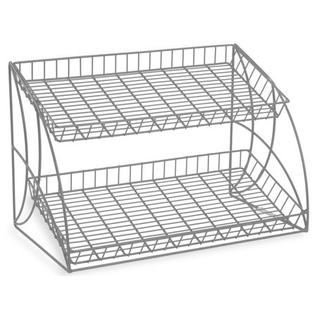 Displays2go  Metal Wire Rack With 2 Open Space Shelves For Displaying Merchandise, Angled Back Design, Countertop, (2) (Open Offset Angle Shelving)