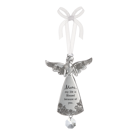 Mom My Life is Blessed Because of You Angel Charm Ornament - By Ganz