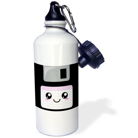3dRose Kawaii Cute Happy Floppy Disk - Retro computer Nerd - Japanese Anime Smiley cartoon with pink label, Sports Water Bottle, 21oz
