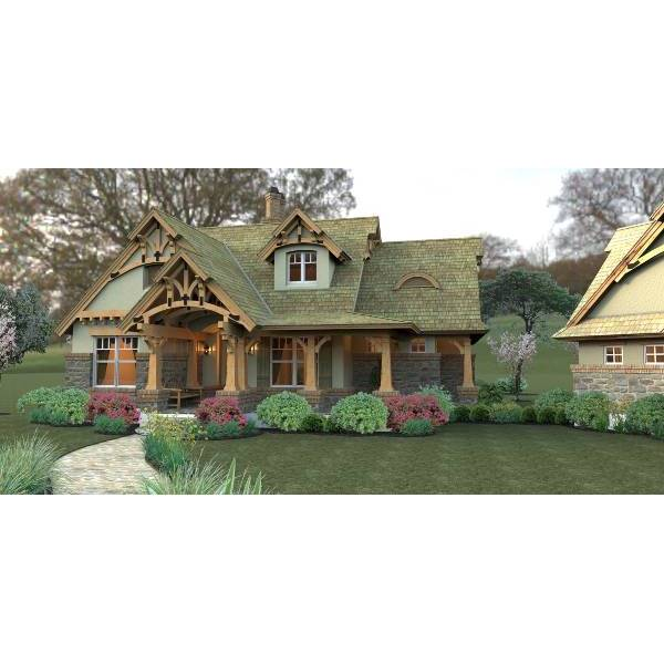 TheHouseDesigners-2259 Small Craftsman House Plan with Basement Foundation (5 Printed Sets)