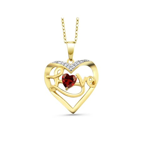 0.55 Ct Red Garnet 18K Yellow Gold Plated Silver Diamond Accent Heart Pendant