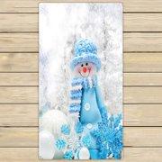GCKG Merry Christmas Xmas Cute Snowman Towels,Beach Bath Pool Sprot Travel Hand Spa Towel Size 16x28 inches