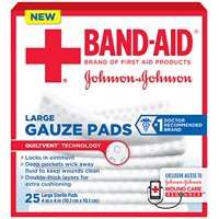 5 Pack - BAND-AID First Aid Large Gauze Pads, 4 in x 4 in, 25 Each