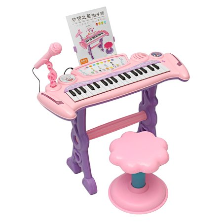 Musical Kids Electronic Keyboard 37 Key Piano Organ Toy/Microphone Music with Chair For Kid Gift ,Pink for $<!---->