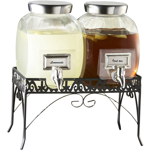 Style Setter 1-Gallon Williamsburg Glass Beverage Dispenser Set with Stand