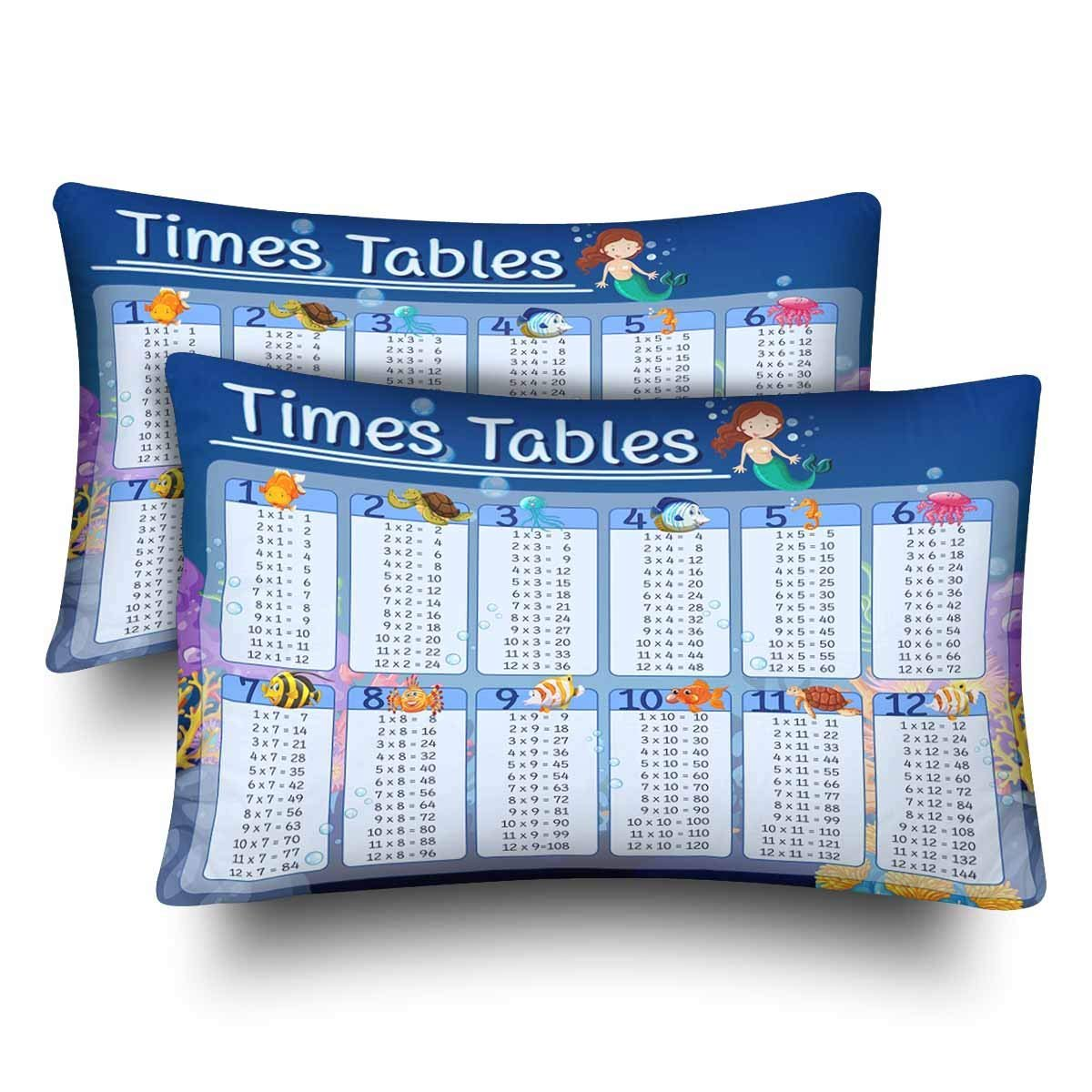 Pleasing Gckg Times Tables Chart With Underwater Pillow Cases Pillowcase 20X30 Inches Set Of 2 Multiplication Table Download Free Architecture Designs Lectubocepmadebymaigaardcom