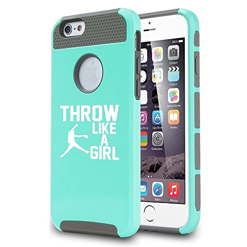 For Apple iPhone 6 6s Shockproof Impact Hard Case Cover Throw Like A Girl Softball (Teal-Gray)