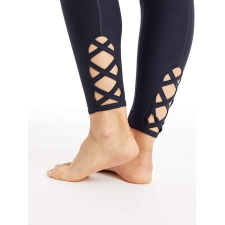 Dot Lace Trim Legging (Bally Women's Active Lace Back Legging 27