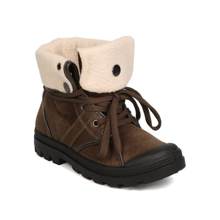 Plus Size Boot Cuffs (New Women Refresh Evan-01 Faux Suede Lace Up Fur Lined Cuffed All Weather)