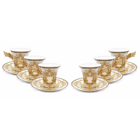 Royalty Porcelain 12-pc White Tea Set, Service for 6, Medusa Greek Key, 24K Gold
