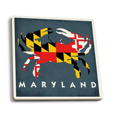 - Maryland - Crab Flag - Lantern Press Artwork (Set of 4 Ceramic Coasters - Cork-backed, Absorbent)