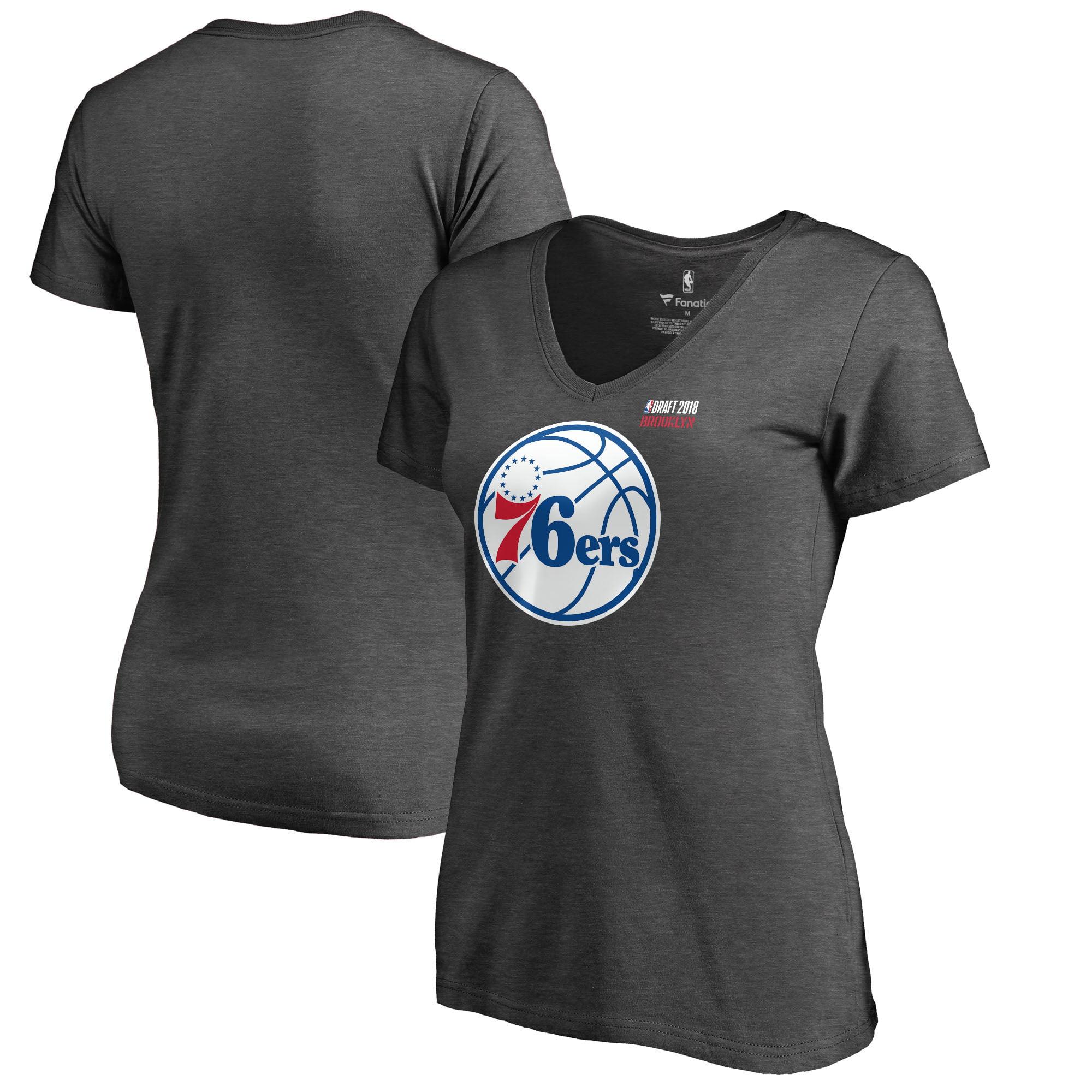 Philadelphia 76ers Fanatics Branded Women's 2018 NBA Draft BKLYN V-Neck T-Shirt - Heather Gray