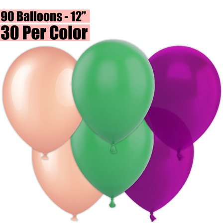 12 Inch Party Balloons, 90 Count - Metallic Rose Gold + Jade Green + Plum - 30 Per Color. Helium Quality Bulk Latex Balloons In 3 Assorted Colors - For Birthdays, Holidays, Celebrations, and More!!](Green Helium Balloons)