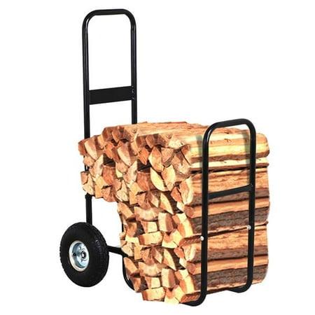 Image of Rolling Firewood Rack Trolley Carrier Wood Rack Black