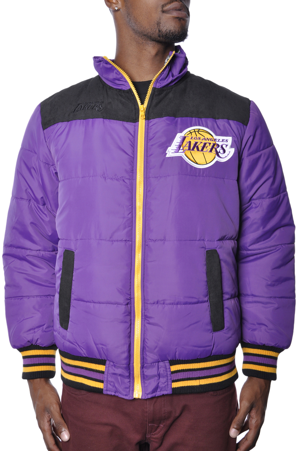 Los Angeles Lakers Insulated Jacket Zip Up Fleece Puffy Coat NBA Outerwear Mens by OFFICIAL LICENSED NBA