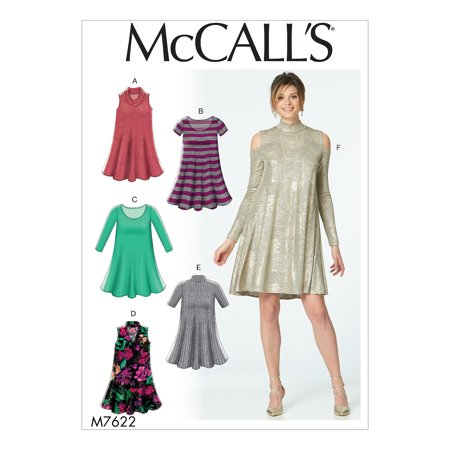 McCall's Sewing Pattern Misses' Knit Swing Dresses with Neckline and Sleeve Variatio-L-XL-XXL