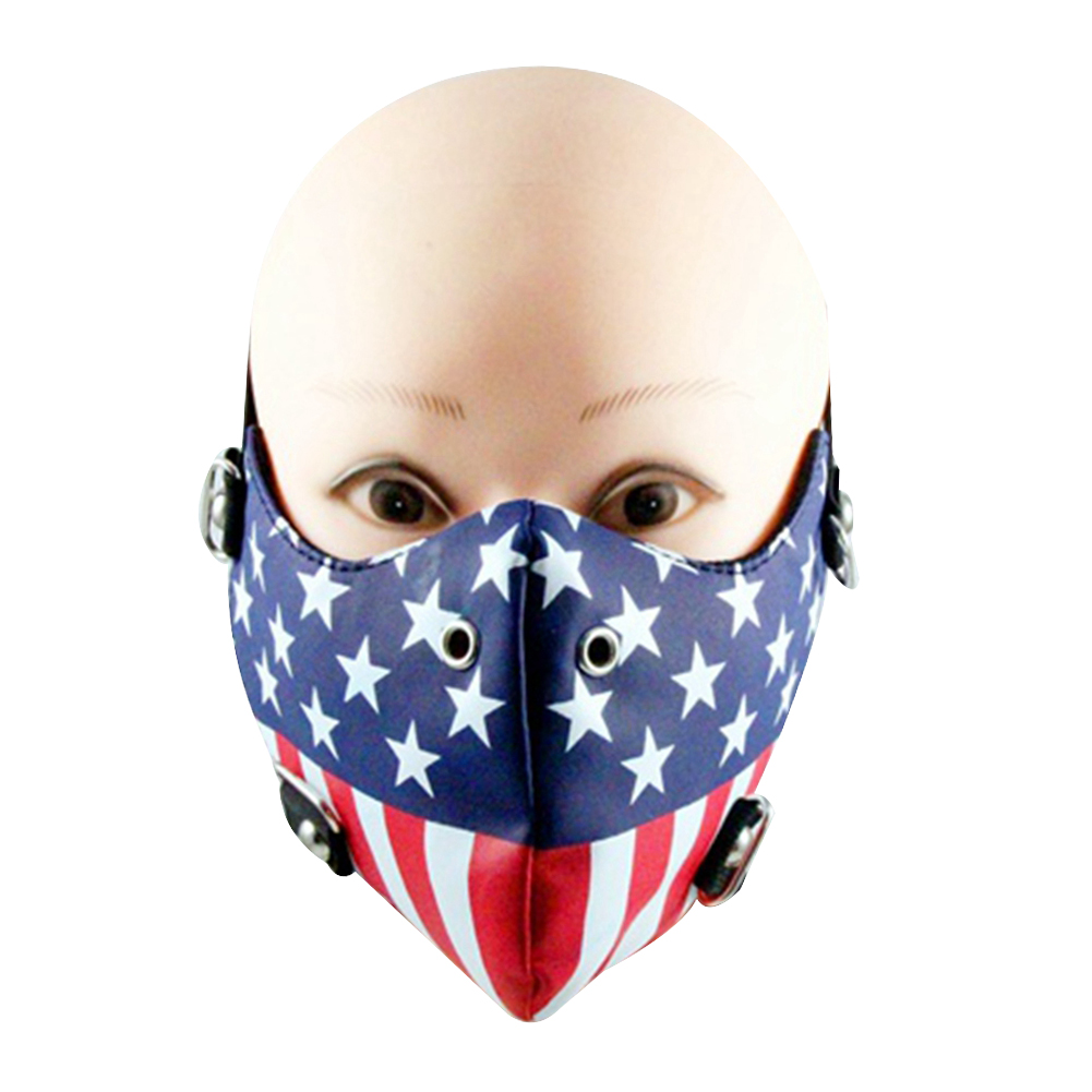 Men Motorcycle Face Mask Punk Rivet Harley US Flag Mask Mouth Muffle Pattern:the Stars and Stripes