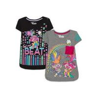 Trolls Girls 4-16 Glitter & Fur Graphic T-Shirts, 2-Pack