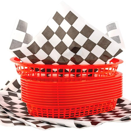 Checkered Paper (Red Fast Food Basket (12) with Black Checkered Deli Paper (120))