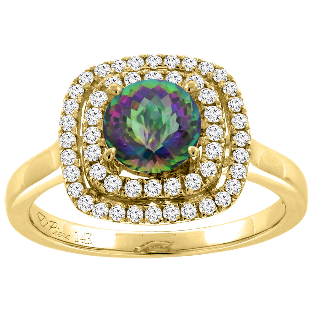14K Yellow Gold Natural Mystic Topaz Double Halo Diamond Engagement Ring Round 7 mm, size 6 by Gabriella Gold