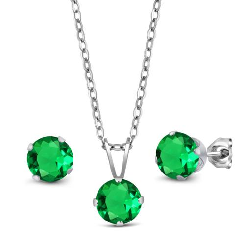 2.31 Ct Green Simulated Emerald 925 Silver Pendant Earrings Set With Chain