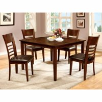 Wooden 5 Piece Dining Table Set, Brown Cherry