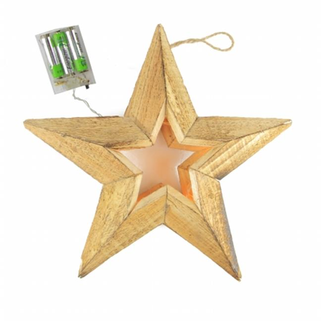 Northlight Seasonal 31751547 Pre-Lit Battery Operated Warm Clear LED Country Rustic Wooden Star Christmas Decoration