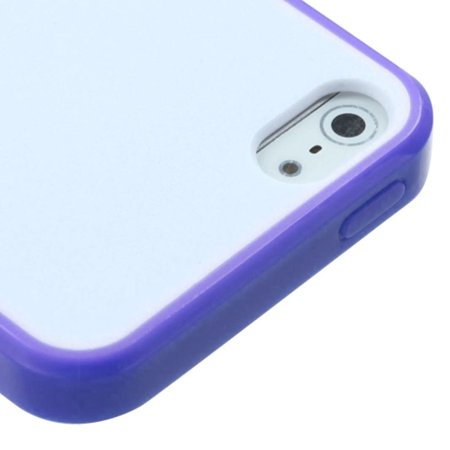 Insten Glassy Solid White/Purple Gummy Case For Apple iPhone SE 5S 5 - image 1 de 3