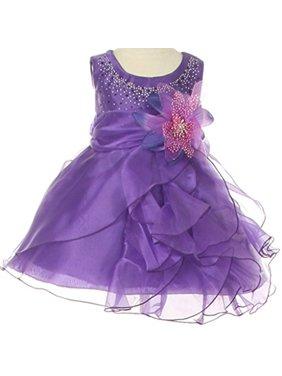 fb9ab09b8c7 Product Image Baby   Infant Flower Girl Dress with Crystal Organza  Cascading Ruffles Fuchsia L CC1101B. BNY Corner