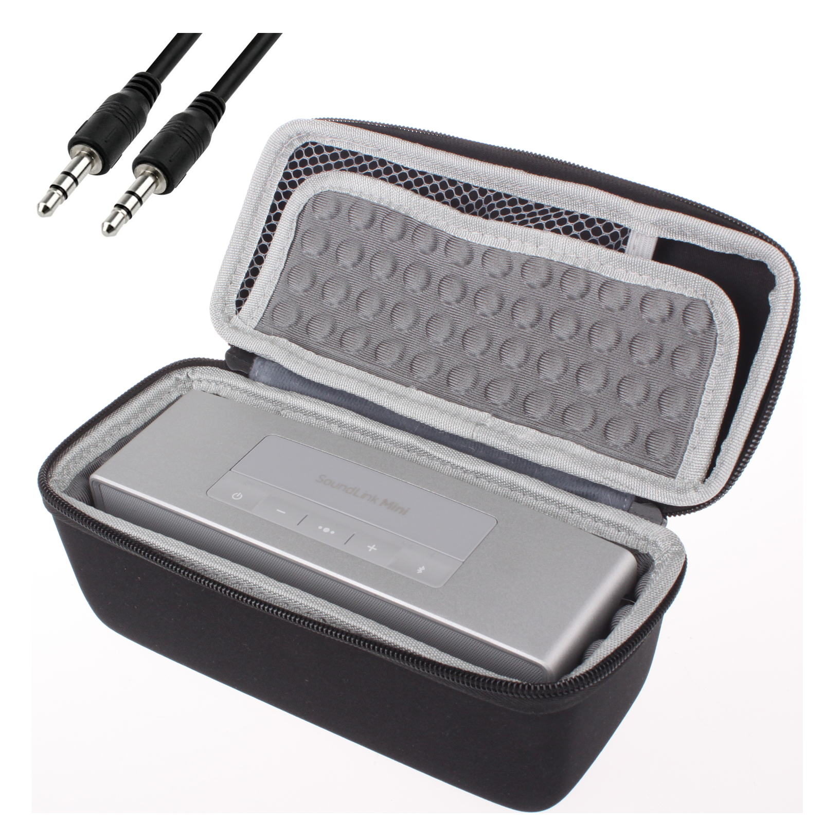 EEEKit for Bose Soundlink Mini Bluetooth Speaker II,Type A Portable Shockproof Carry Case Box Bag+3.5mm Audio Cable