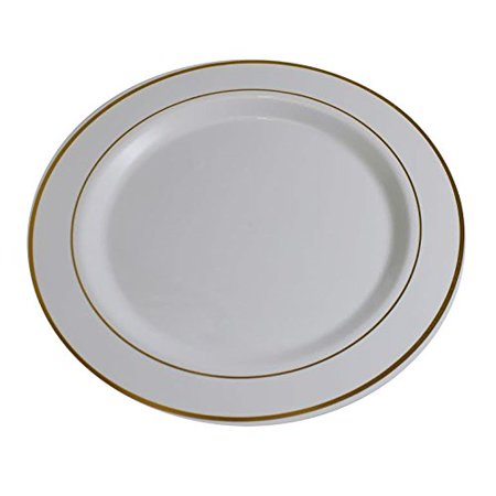 Exquisite Wedding & Party Dinnerware, Disposable Plastic Dinner Plates (9 Inch) - White with Gold Rim - 40 Pack - White Plastic Plates