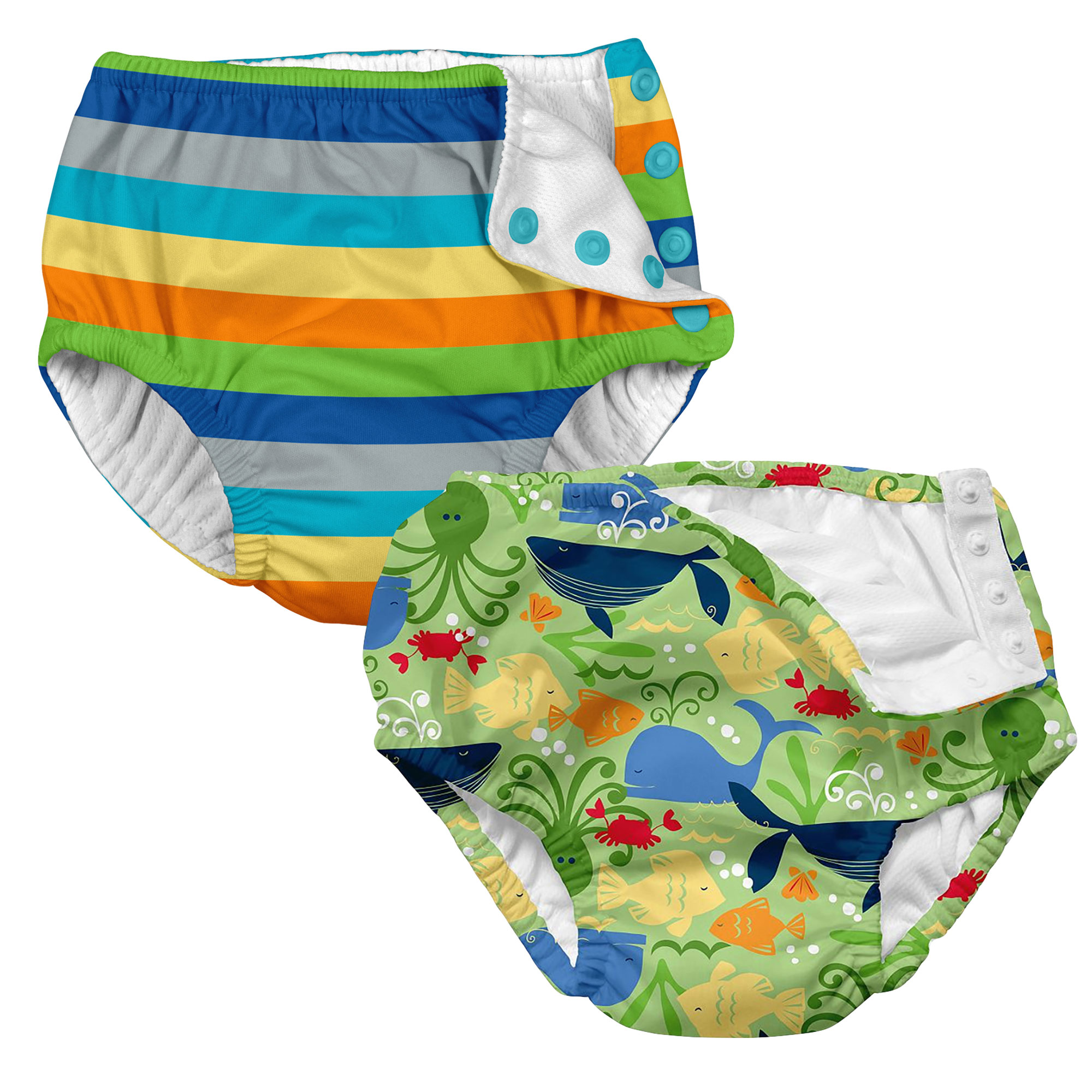 i play Baby and Toddler Snap Reusable Swim Diaper - Sealife and Stripes- 2 Pack