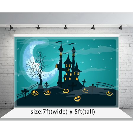 GreenDecor Polyester Fabric 7x5ft Halloween Photography Backdrops Horror Castle Moon Photo Booth Background](Horror Halloween Background)