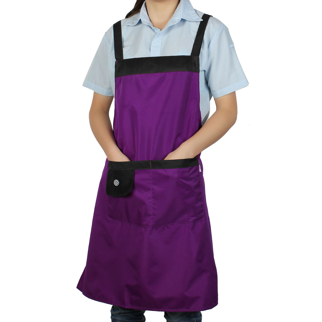 Household Kitchen Waterproof Black Purple Cooking Apron Bib Dress w Pockets