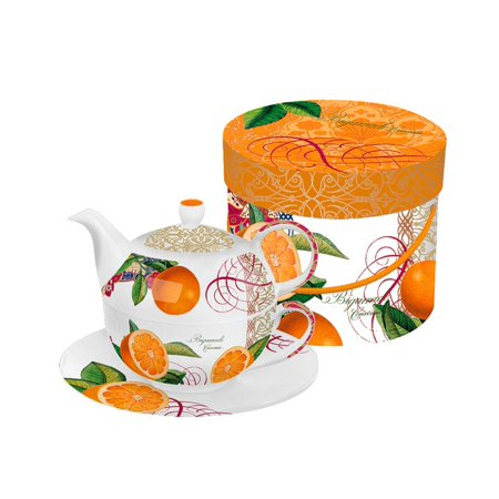 Valencia Orange Bigarrade Couronnee Bone China Tea for One Teapot, Cup and Saucer Set with Gift Box ()
