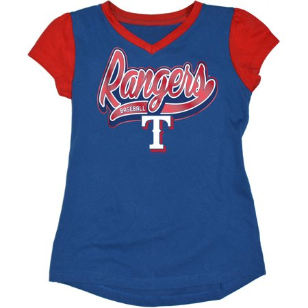 - MLB Texas Rangers Girls Short Sleeve Team Color Graphic Tee