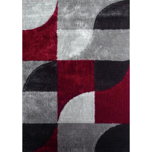 Rug Addiction Hand-tufted Polyester Red with Light Silver to dark Gray Shag Area Rug