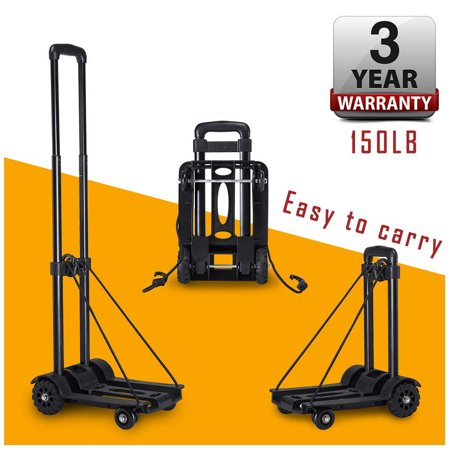 Folding Hand Truck Dolly w/ Wheels and Handle 150 lbs Capacity Heavy Duty Solid Construction Utility Cart Compact Lightweight for Luggage Personal Travel Auto Moving Office