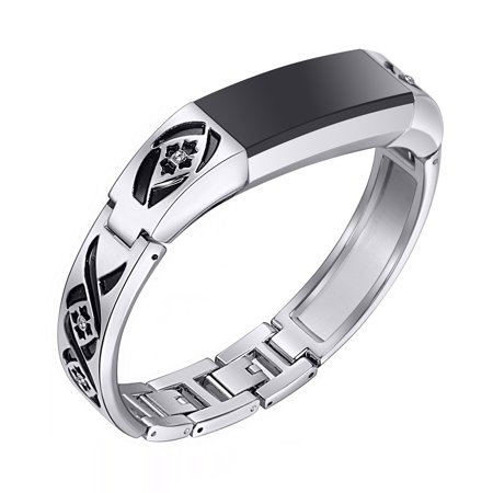 For Fitbit Alta and Alta HR Bands, bayite Jewelry Bangle Adjustable Bracelet with Rhinestone Silver 6