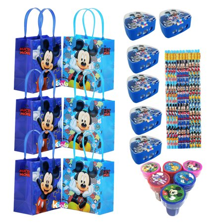 6 set Disney Mickey Mouse Birthday Party Supply Favor Gift Bags Sharpener Pencil - Mickey Mouse Party Bags