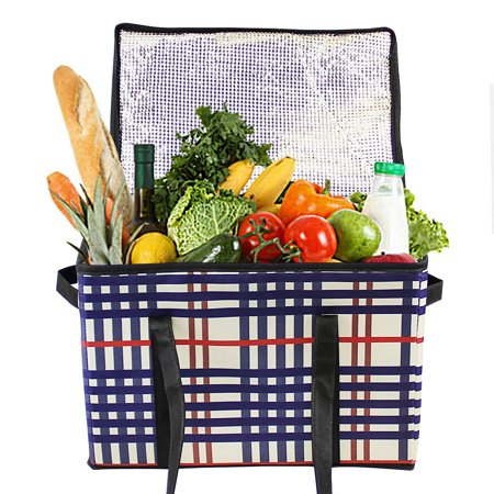 DL furniture - Insulated Food Carrier Delivery Reusable Grocery Box Bag with insulated lining Reinforced Food Container Saver (2 packs)