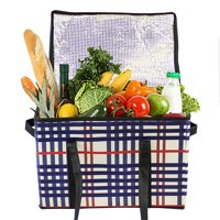 Insulated Food Carrier Delivery Reusable Grocery Box Bag with insulated lining Reinforced Food Container Saver (2 packs)