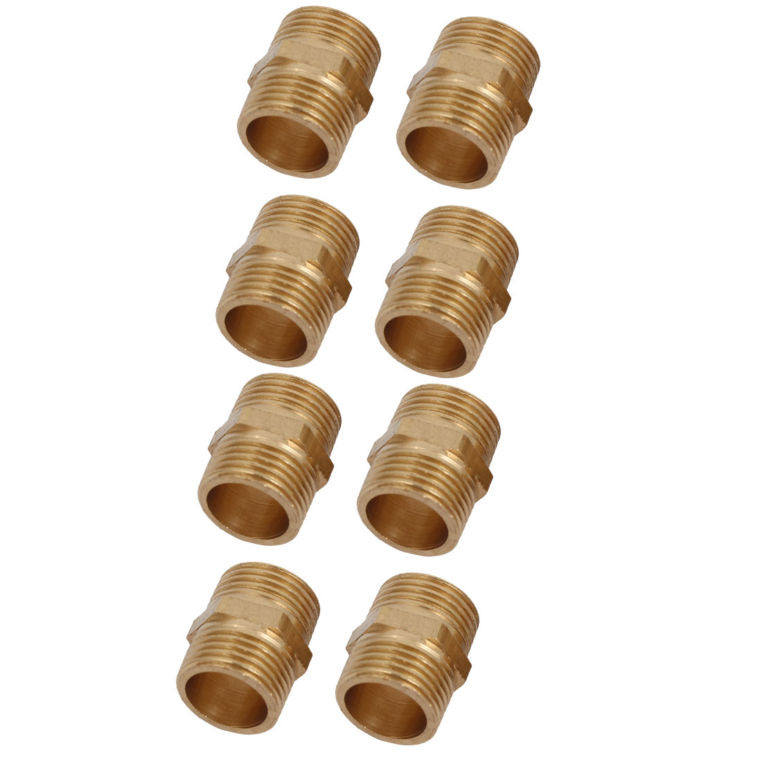 Unique Bargains3/8BSP Male Thread Brass Hex Nipple Tube Pipe Connecting Fittings 8pcs