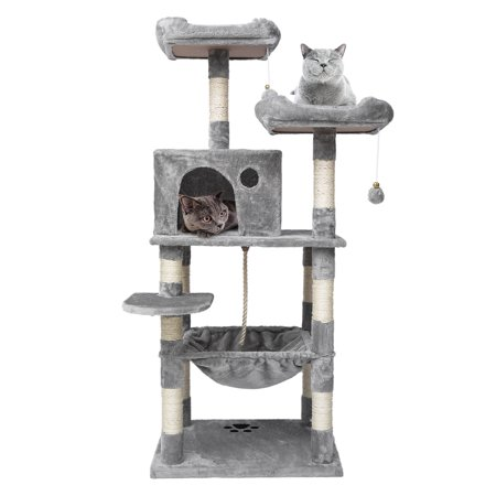 Cat Tree Tower Pet Cat Tree Kitty Play House Tower Condo Bed Scratch Post Toy Ball, Plush Perches, Hammock and Condo, Cat Tower Furniture for Kittens, Cats and Pets ()
