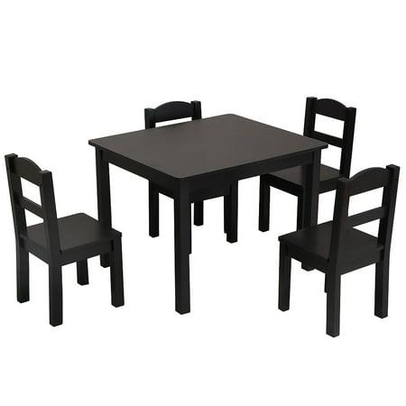 Kids Wood Table & 4 Chairs Set Espresso](Express Kids)