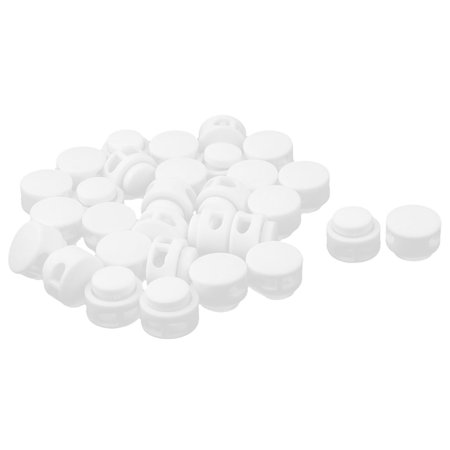 Household Plastic Spring Stop Double Holes Lanyard Cord Locks End White 30pcs