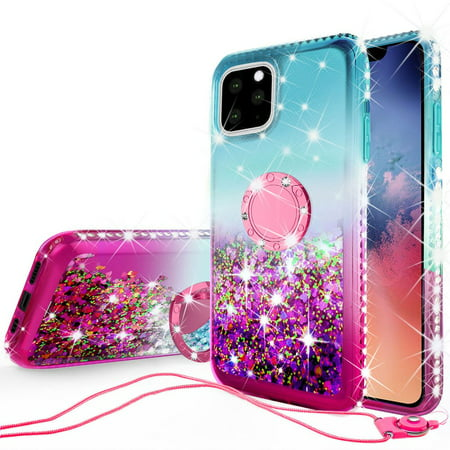 iPhone 11 (2019) Case, Ring Kickstand Glitter Liquid Floating Bling Sparkle Moving Quicksand Waterfall Girls Women Cute Protective Phone Case with Tempered Glass Screen Protector - Teal/Pink (Moving Iphone 4 Case)