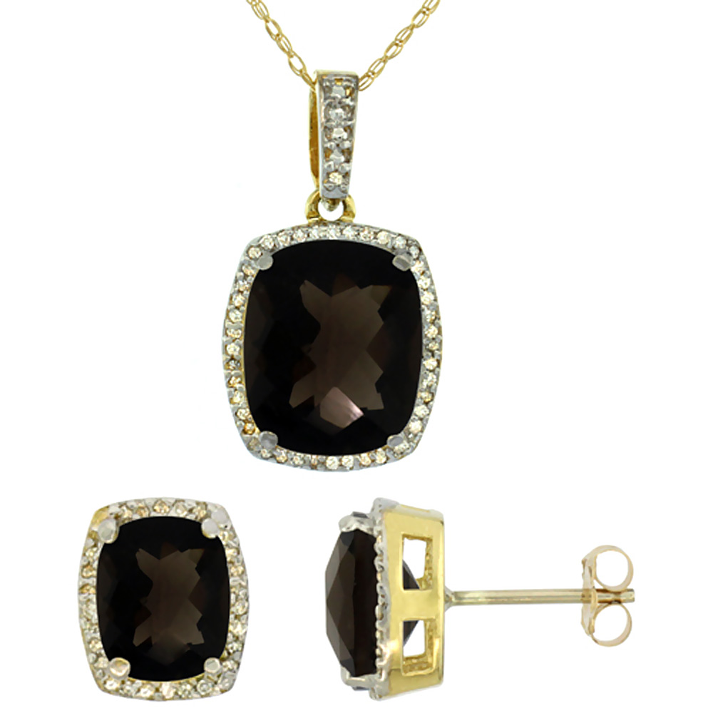 10K Yellow Gold Natural Octagon Cushion Smoky Topaz Earrings & Pendant Set Diamond Accents by WorldJewels