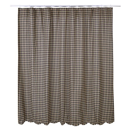 VHC Black Check Scalloped Shower Curtain