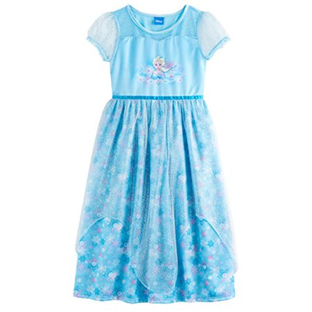 Disney Frozen Elsa Anna Girl's Fantasy Gown Nightgown Pajamas (8, Blue) - Queen Elsa Gown